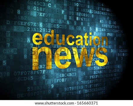 News concept: pixelated words Education News on digital background, 3d render