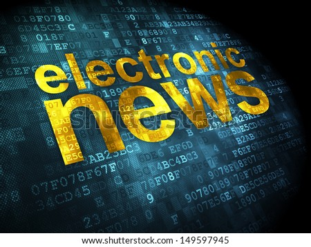 News concept: pixelated words Electronic News on digital background, 3d render - stock photo