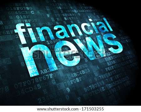 News concept: pixelated words Financial News on digital background, 3d render - stock photo