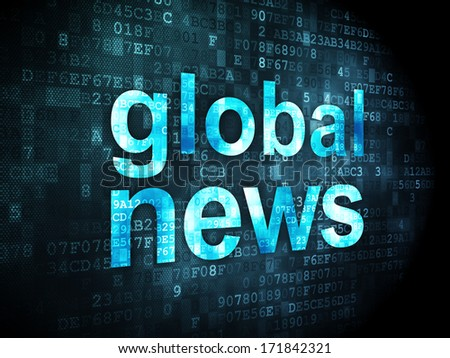 News concept: pixelated words Global News on digital background, 3d render