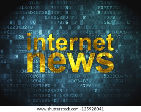 News concept: pixelated words Internet News on digital background, 3d render