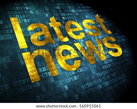 News concept: pixelated words Latest News on digital background, 3d render - stock photo