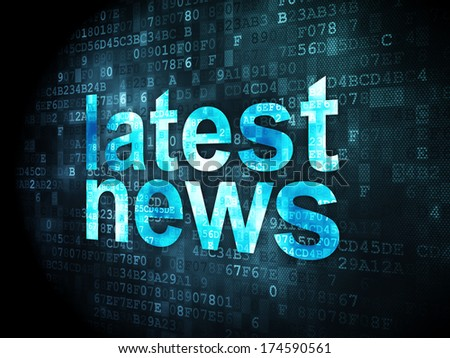 News concept: pixelated words Latest News on digital background, 3d render