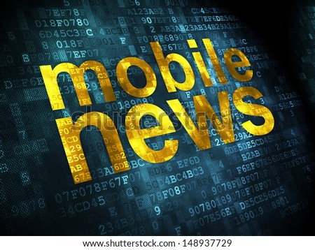 News concept: pixelated words Mobile News on digital background, 3d render - stock photo