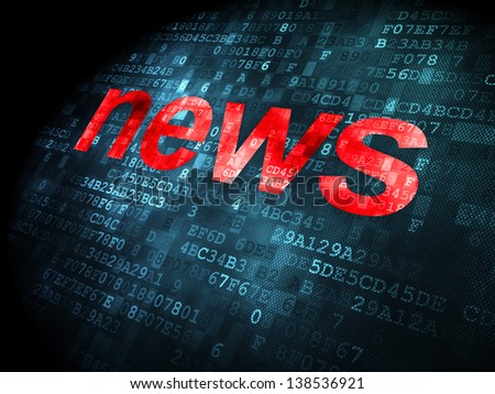 News concept: pixelated words News on digital background, 3d render - stock photo