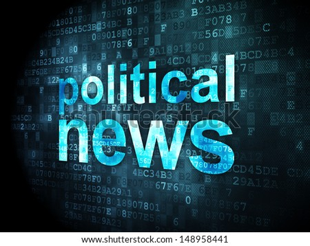 News concept: pixelated words Political News on digital background, 3d render