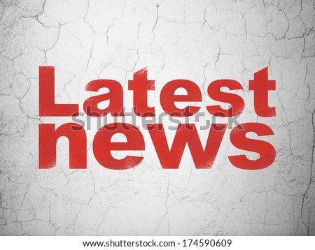 News concept: Red Latest News on textured concrete wall background, 3d render