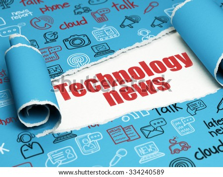 News concept: red text Technology News under the curled piece of Blue torn paper with  Hand Drawn News Icons - stock photo