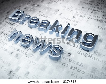 News concept: Silver Breaking News on digital background, 3d render - stock photo