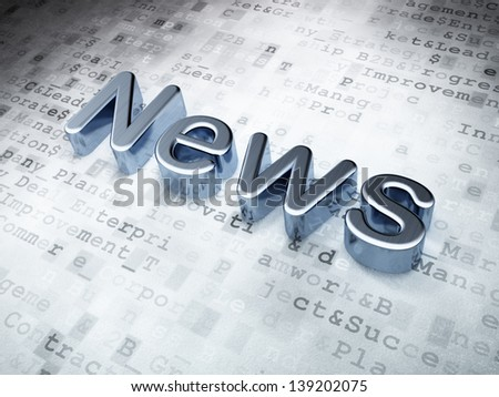 News concept: Silver News on digital background, 3d render