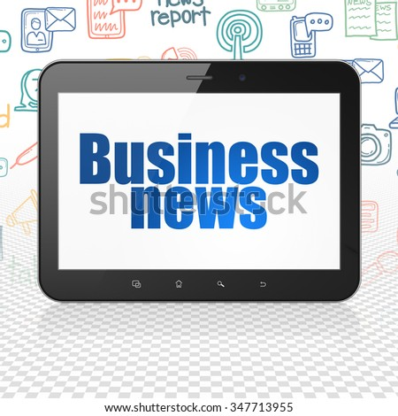 News concept: Tablet Computer with  blue text Business News on display,  Hand Drawn News Icons background - stock photo