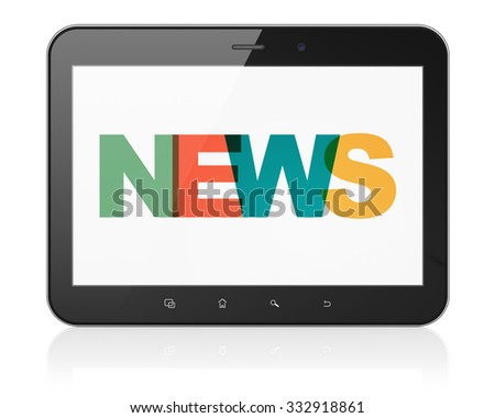 News concept: Tablet Computer with Painted multicolor text News on display