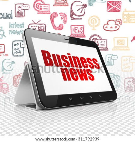 News concept: Tablet Computer with  red text Business News on display,  Hand Drawn News Icons background - stock photo