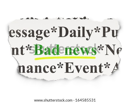 News concept: torn newspaper with words Bad News on Paper background, 3d render