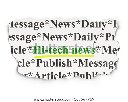 News concept: torn newspaper with words Hi-tech News on Paper background, 3d render