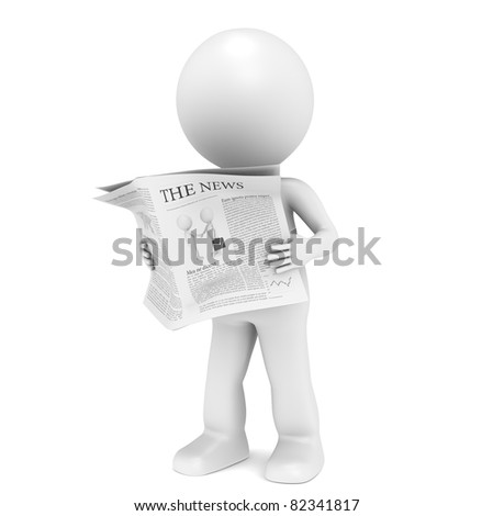 News. 3D little human character Reading a News Paper.