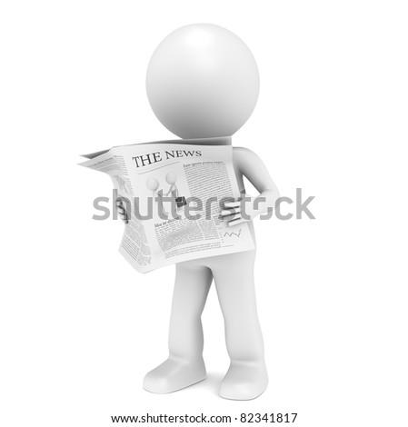 News. 3D little human character Reading a News Paper. - stock photo