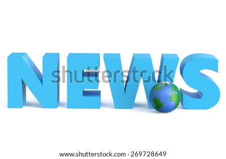 News - 3D with globe isolated on white background - stock photo
