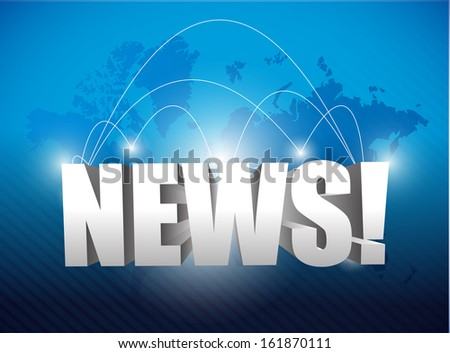 news 3d word over a world map illustration design background graphic - stock photo