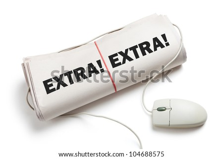 News Extra, Computer mouse and Newspaper Roll with white background