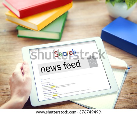 News Feed Information Announcement List News Concept - stock photo