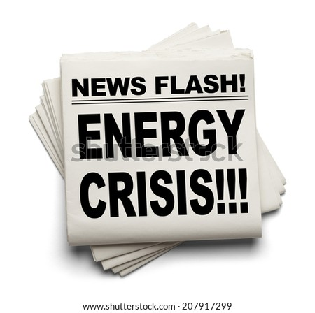 News Flash Energy Crisis News Paper Isolated on White Background. - stock photo