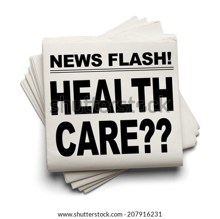 News Flash Health Care ? News Paper Isolated on White Background. - stock photo