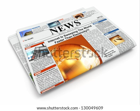 News. Folded newspaper on white isolated background. 3d - stock photo