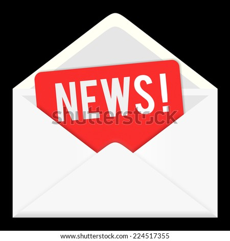 news icon isolated on white background. envelop, letter email, information and media - stock photo