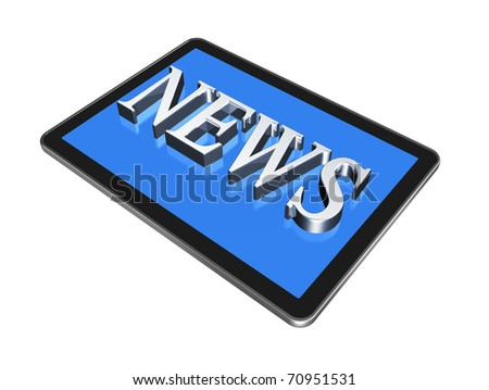 News in digital Tablet pc, isolated on white with clipping path - stock photo