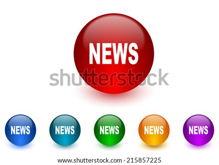 news internet icons colorful set - stock photo