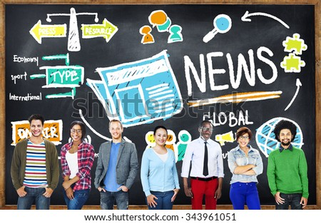 News Journalism Information Publication Update Media Advertisement Concept - stock photo