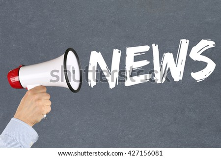 News media announcement announce information hand with megaphone - stock photo