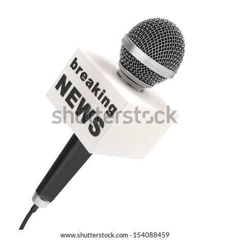 news microphone with blank box, isolated on a white background - stock photo