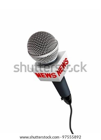 news microphones - stock photo