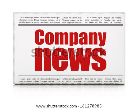News news concept: newspaper headline Company News on White background, 3d render - stock photo