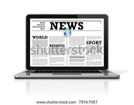 News on a laptop computer isolated on white with 2 clipping paths : one for global scene and one for the screen - stock photo