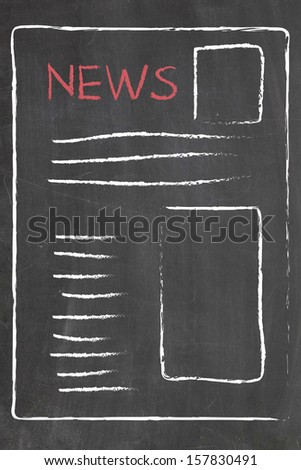news on blackboard - stock photo