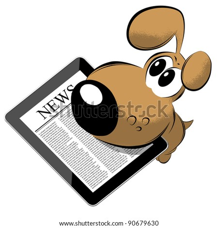 News on generic Tablet PC with dog - stock photo