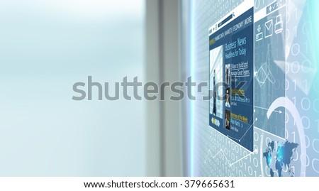 News on virtual screen - stock photo