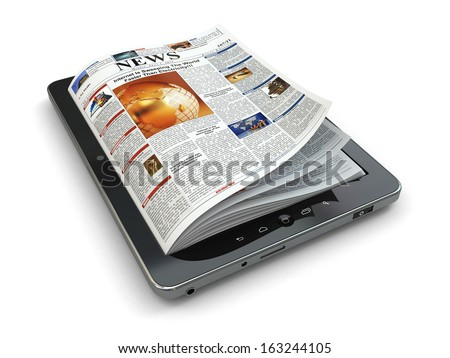 News online concept. Tablet pc and newspaper. 3d - stock photo