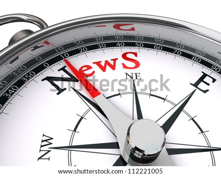 news red word indicated by compass conceptual image - stock photo