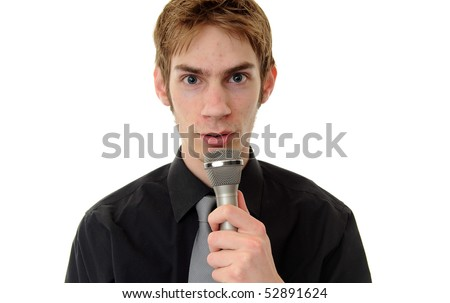 News reporter journalist interviews a person holding up the microphone. - stock photo