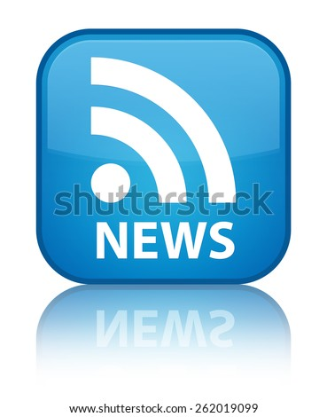 News (RSS icon) cyan blue square button - stock photo