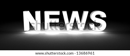 news section title made of 3D glowing white letters