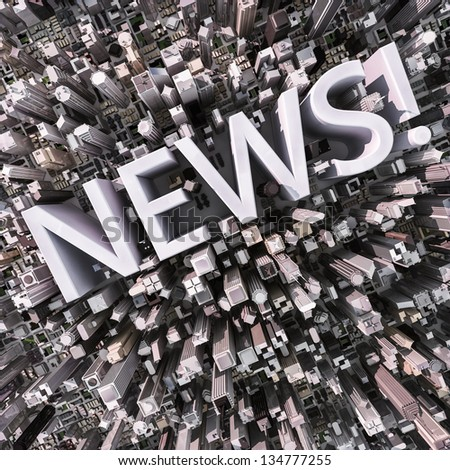 News text in a 3d city aerial view - stock photo