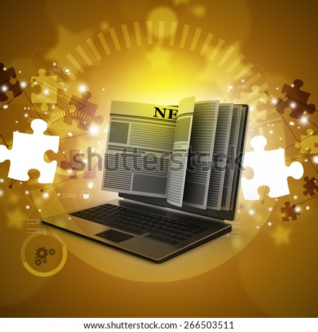 News through a laptop screen concept for online news - stock photo