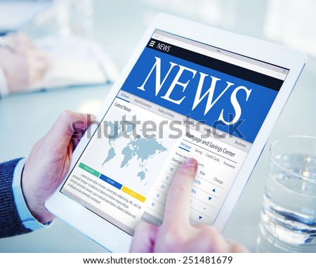 News Update Latest Information Headline Media Article Concept - stock photo