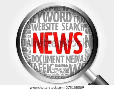 News word cloud with magnifying glass, business concept - stock photo