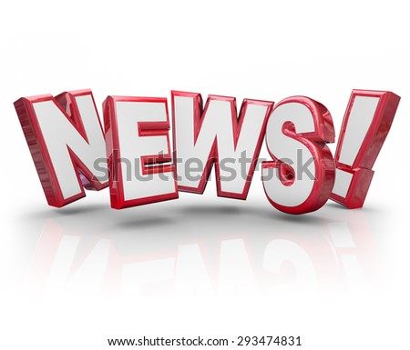 News word in red 3d letters to illustrate an article, report, journalizm, gossip, buzz, trend, rumor or information in communication - stock photo